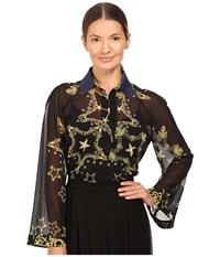 Versace Oversized Shirt Navy Gold Women's Blouse Blue