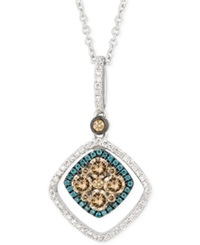 Le Vian White Chocolate And Blue Diamond Pendant Necklace 5 8 Ct. T.W. In 14K White Gold No Color