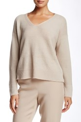 Eileen Fisher Linen V Neck Boxy Sweater Beige