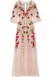 Temperley London Antila Embroidered Cotton Blend Lace Maxi Dress Blush