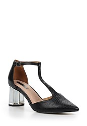 Lost Ink Dame Silver Heel Mid Block Shoes Black