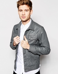 Replay Leather Trucker Jacket Button Front Grey