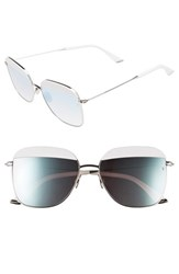 Women's Sunday Somewhere 'Vito' 57Mm Sunglasses White Silver Metal Mirror