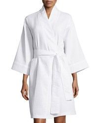 Natori Waffle Knit Short Wrap Robe White Size Medium