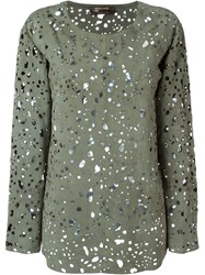 Roberto Cavalli Perforated Suede Blouse Green