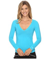 Jamie Sadock Sunsence Lightweight Long Sleeve Layering Under Garment Top With Uvp 30 Curasao Women's Long Sleeve Pullover Blue