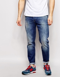 Asos Tapered Jean With Paint And Abrasion Detail Blue