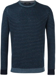 Roberto Collina Patterned Crew Neck Sweater Blue