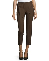 Lafayette 148 New York Wool Blend Cropped Pants Espresso Brown