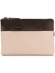 Troubadour Fabric And Leather Pouch Brown
