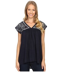 Lucky Brand Sheer Yoke Embroidered Top American Navy Women's Clothing