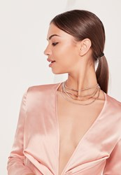 Missguided Layered Diamante Necklace Gold Gold
