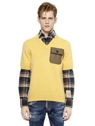 Dsquared Cotton Sweater W Flannel Shirt Details Yellow