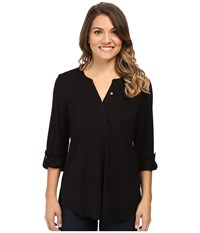 Nydj Petite Knit Henley Blouse With Convertible Sleeve Black Women's Blouse