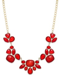 Style And Co. Gold Tone Red Bold Stone Frontal Necklace