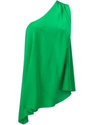Trina Turk One Shoulder Blouse Green