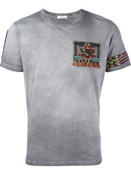 Valentino Beaded American Detail T Shirt Grey