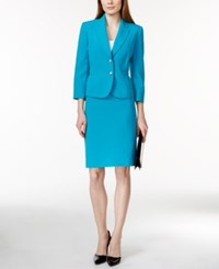 Tahari By Arthur S. Levine Tahari Asl Three Quarter Sleeve Crepe Skirt Suit Medium Blue