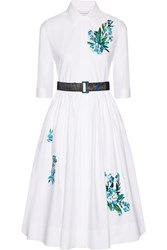 Jonathan Saunders Liv Embroidered Cotton Poplin Dress