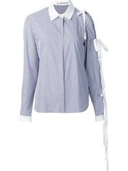 Sandy Liang Pinstripe Button Down Shirt Blue