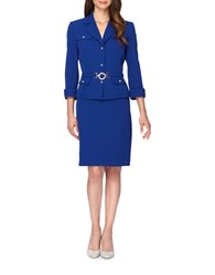 Tahari By Arthur S. Levine Petite Belted Jacket And Skirt Suit Royal