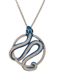 Lord And Taylor Sterling Silver Enamel Snake Pendant With Sapphire And White Topaz Blue Silver