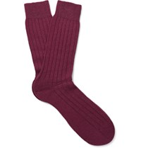 Pantherella Waddington Ribbed Cashere Blend Socks Burgundy
