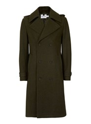 Topman Green Khaki Military Style Wool Rich Trench Coat