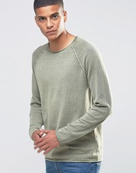 Selected Homme Sweatshirt With Raglan Sleeve And Raw Hem Detail Dusty Olive Green