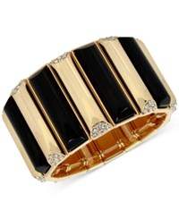 Inc International Concepts M. Haskell For Gold Tone Stone And Pave Rectangle Stretch Bracelet Only At Macy's Black
