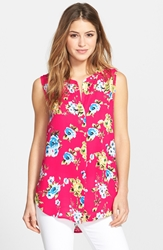 Print Sleeveless High Low Top Pink Floral