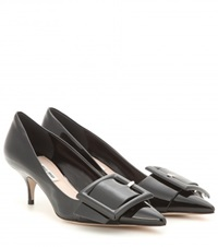 Miu Miu Patent Leather Kitten Heel Pumps Black