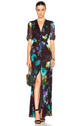 Mason By Michelle Mason Button Down Maxi Dress Purple Floral