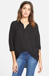 Junior Women's Frenchi Spread Collar Shirt Black
