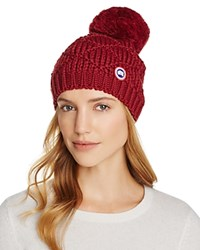 Canada Goose Merino Wool Beanie With Oversized Pom Pom Niagara Grape