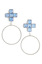 Jiwinaia Women's Crystal Cross Hoop Earrings