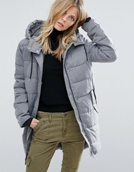 Mango Quilted Padded Jacket With Hood Grey