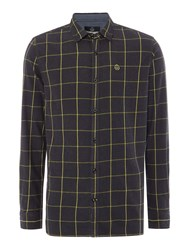 Duck And Cover Men's Element Window Pane Check Shirt Coal