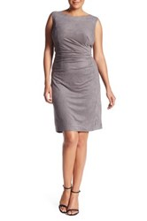 London Times Pleated Faux Suede Sheath Dress Plus Size Gray