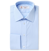 Turnbull And Asser Blue Double Cuff Cotton Shirt