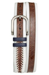 Men's Mezlan 'Lipari' Nappa And Genuine Crocodile Leather Belt