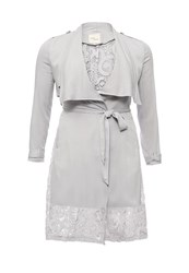 Just Joan Waterfall Trench Coat With Lace Grey