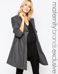 Mama Licious Mamalicious Wool Coat With Funnel Neck And Belt Mediumgreymelange