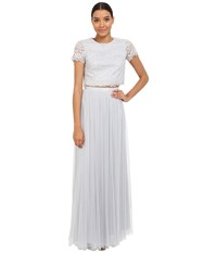 Donna Morgan Amelia Cap Sleeve Top W Tulle Skirt Platinum Women's Dress Silver