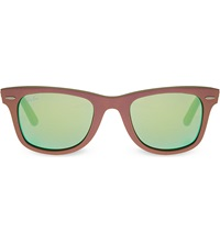 Ray Ban Brown Wayfarer Sunglasses With Mirrored Lenses Rb2140