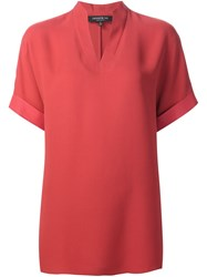 Lafayette 148 New York V Neck Blouse Red
