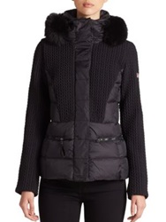 Post Card Fur Trimmed Quilted Puffer Jacket Nero