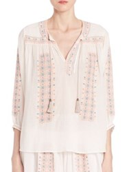 Joie Sunflower Crinkle Gauze Blouse Porcelain With Pale Peach