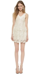 J.O.A. Layered Lace Mini Dress Off White