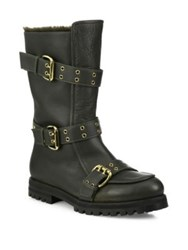 Jimmy Choo Deryn Flat Leather And Shearling Boots Green
